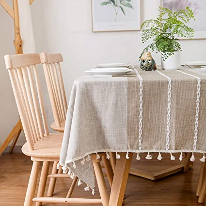 famibay Oblong Tablecloth 55x86 Decoration Elegant Cotton Linen Table Cloth  with Tassel Edge Dust-Proof Washable Kitchen Table Cover for Dining ...