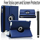 360 ROTATING FLIP LEATHER CASE COVER FOR THE NEW IPAD MINI (BLUE)