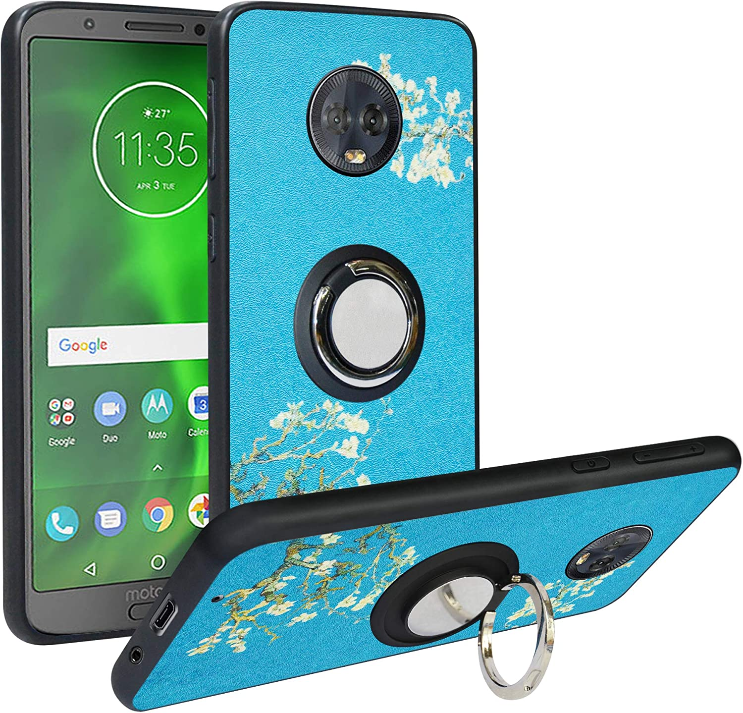 Alapmk Compatible with Moto G6 Case,[Pattern Design] with Kickstand Fit Magnetic Car Mount, Shock Absorption Protective Case Cover for Motorola Moto G6,Flower