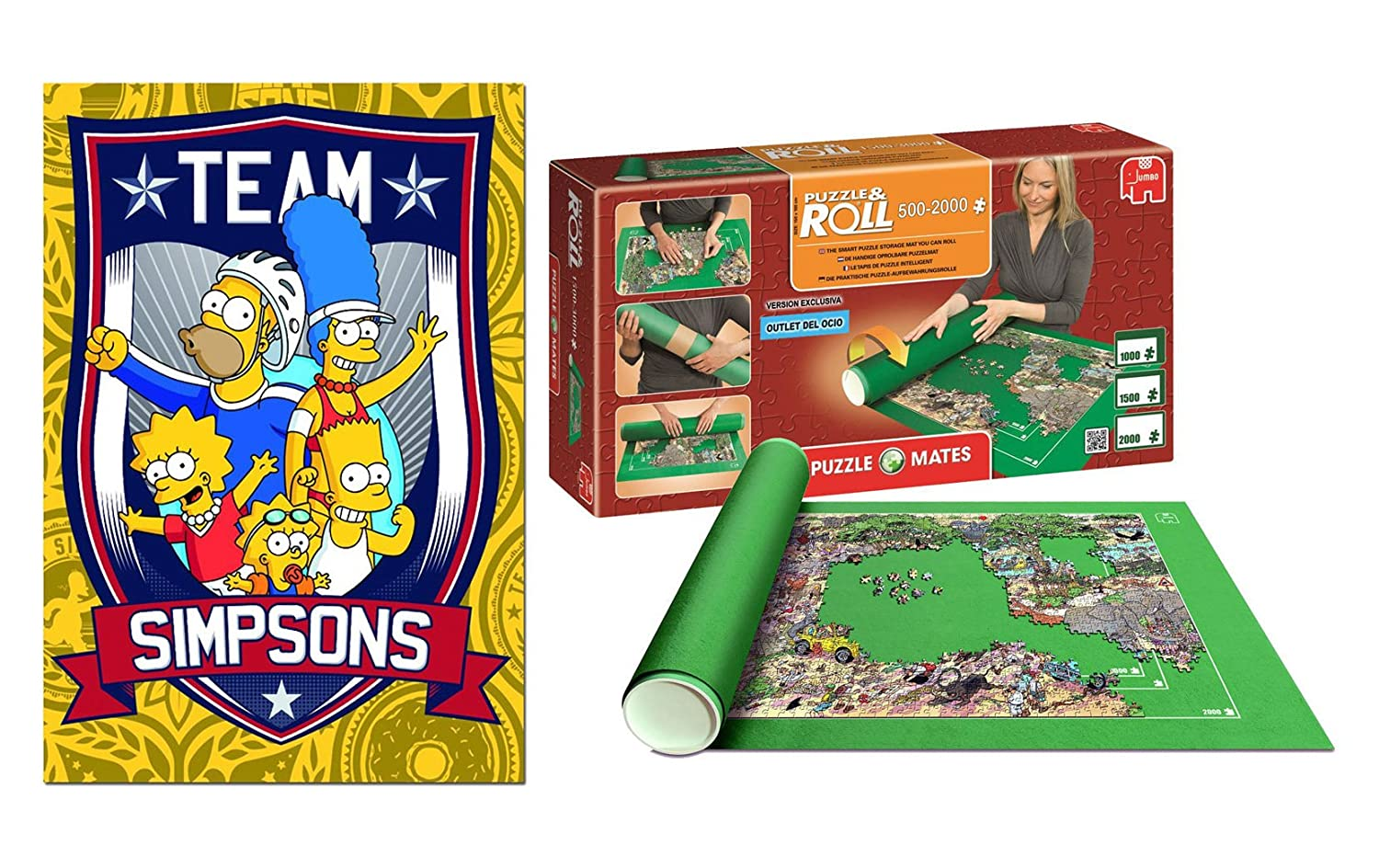 Pack Puzzle Educa 15194. Los Simpsons. 500 piezas + Tapete universal Puzzle Roll 2000 piezas. https://amzn.to/2Twi6er