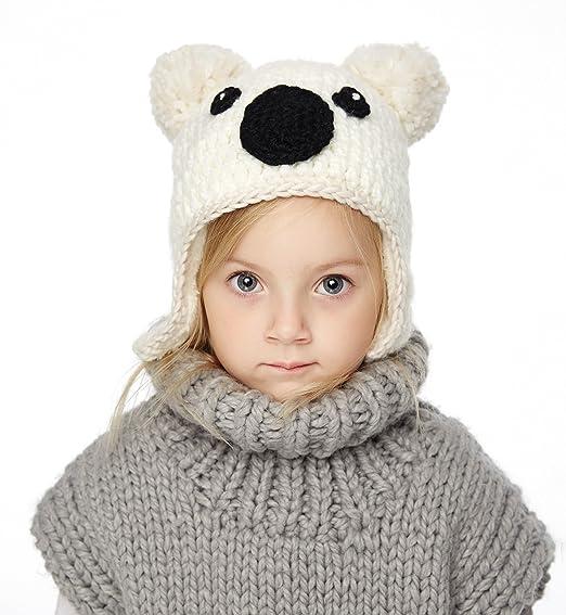 Sumolux Little Girls Boys Winter Hat Warm Ears Flap Beanies Plush Lined  Knitted Cap 35ac871028b0