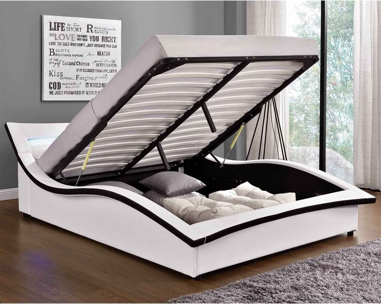 LHestia blanco,Estructura de cama de piel sintética, con baúl, somier y luces led integradas, 140 x 190 cm
