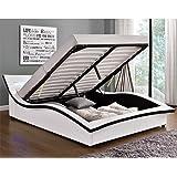 L'Hestia Blanc : Structure de Lit en simili avec Coffre, Sommier et LED intégrées - 140 x 190 cm