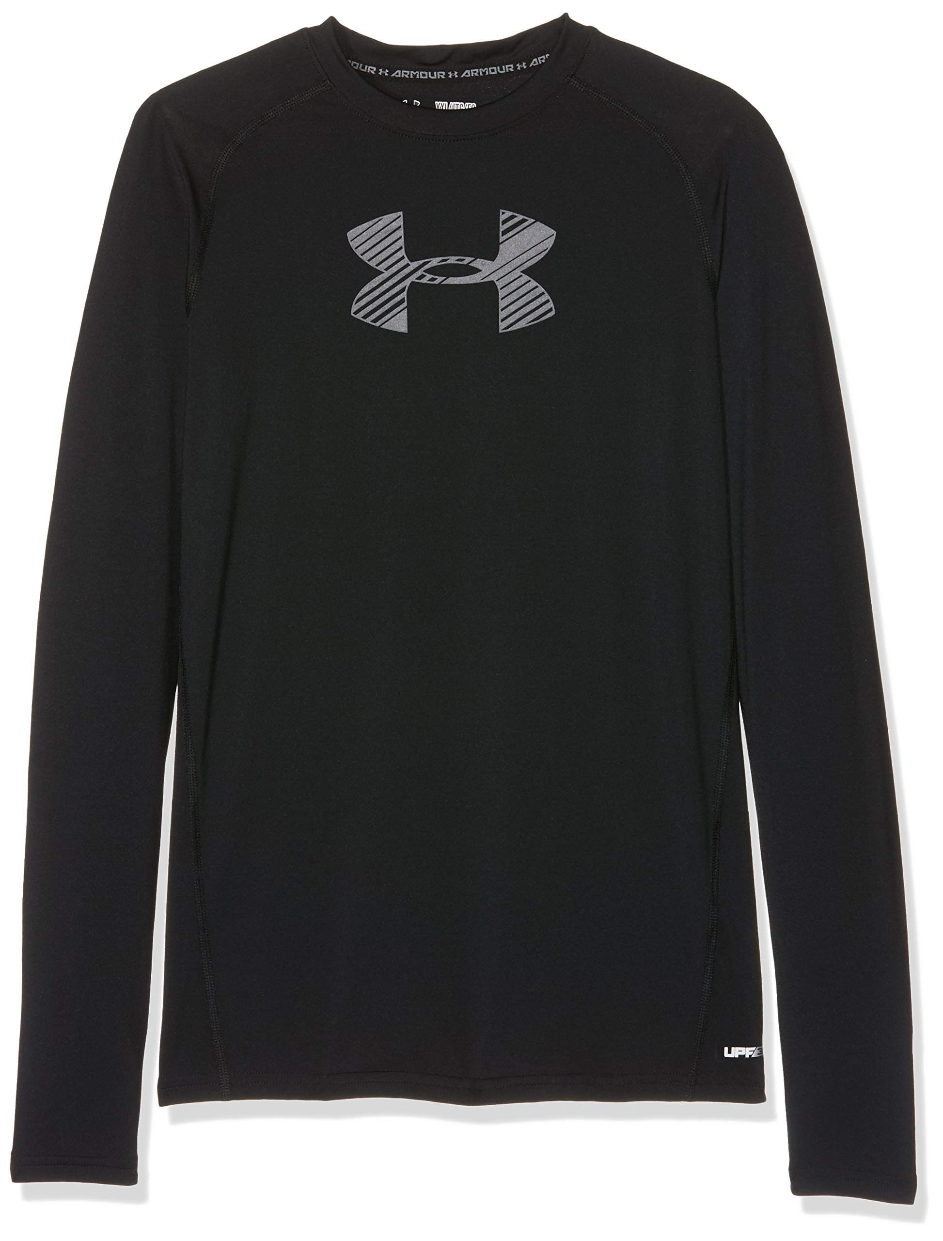 Under Armour Boys' HeatGear Armour Long Sleeve, Black (002)/Graphite, Youth X-Large by Under Armour