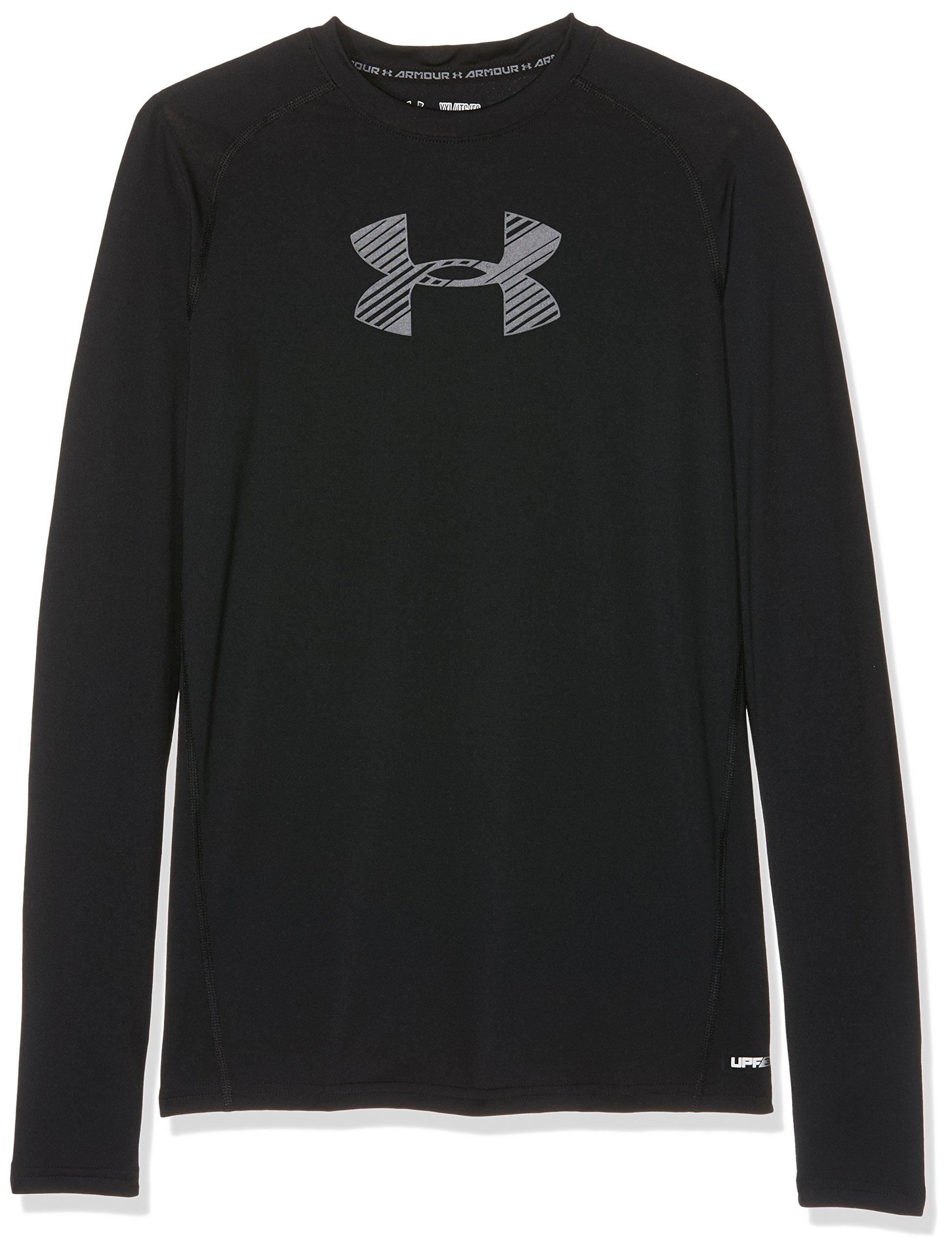 Under Armour Boys' HeatGear Armour Long Sleeve, Black /Graphite, Youth X-Small