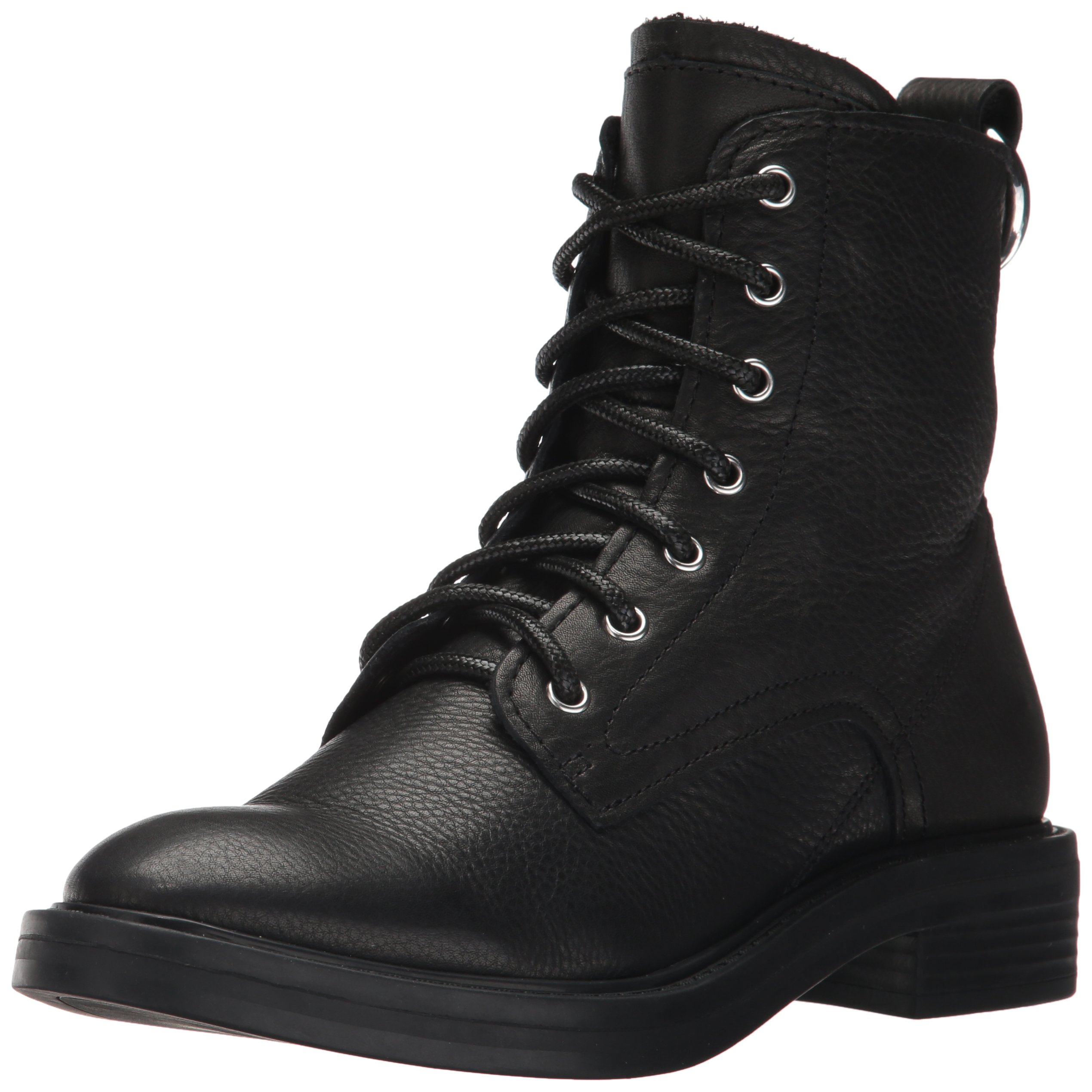 Dolce Vita Women's Bardot Combat Boot, Black Leather, 9.5 Medium US