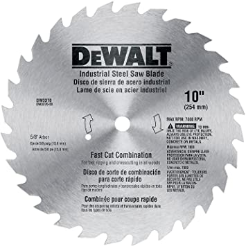 Dewalt Dw3370 10 Inch 28 Tooth Combination Saw Blade With 5 8 Inch And Diamond Knockout Arbor Table Saw Blades Amazon Com