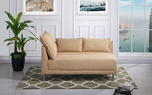 Upholstered 55.9 inch Modern Living Room Linen Chaise Lounge Beige