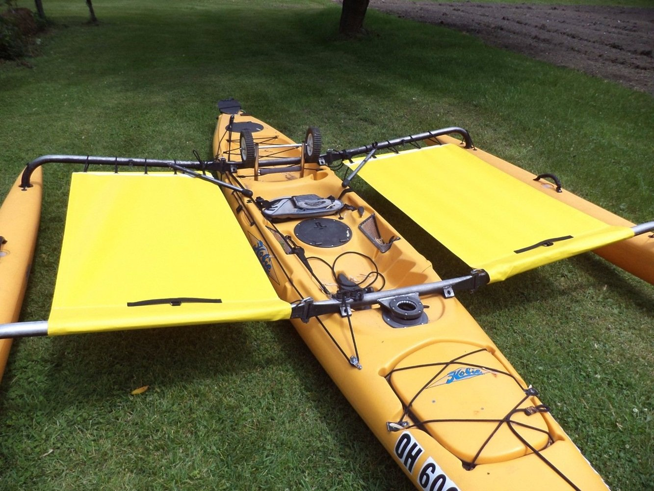Hobie Kayak Trampoline Adventure Tandem Kayak Side yellow - front shield not incl
