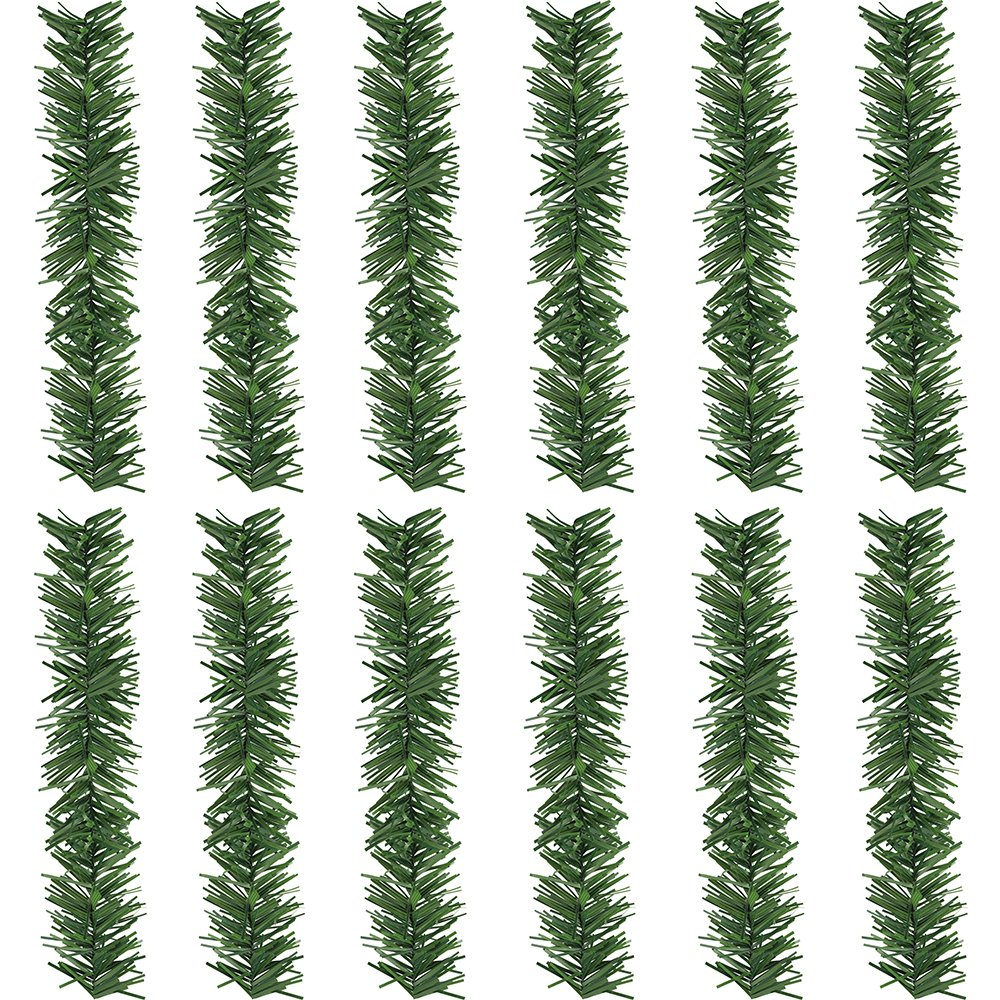 Supla 12 Pcs Artificial Wired Pine Garland Flexible Ties Christmas Greenery 12 inch Holiday Garland Vines
