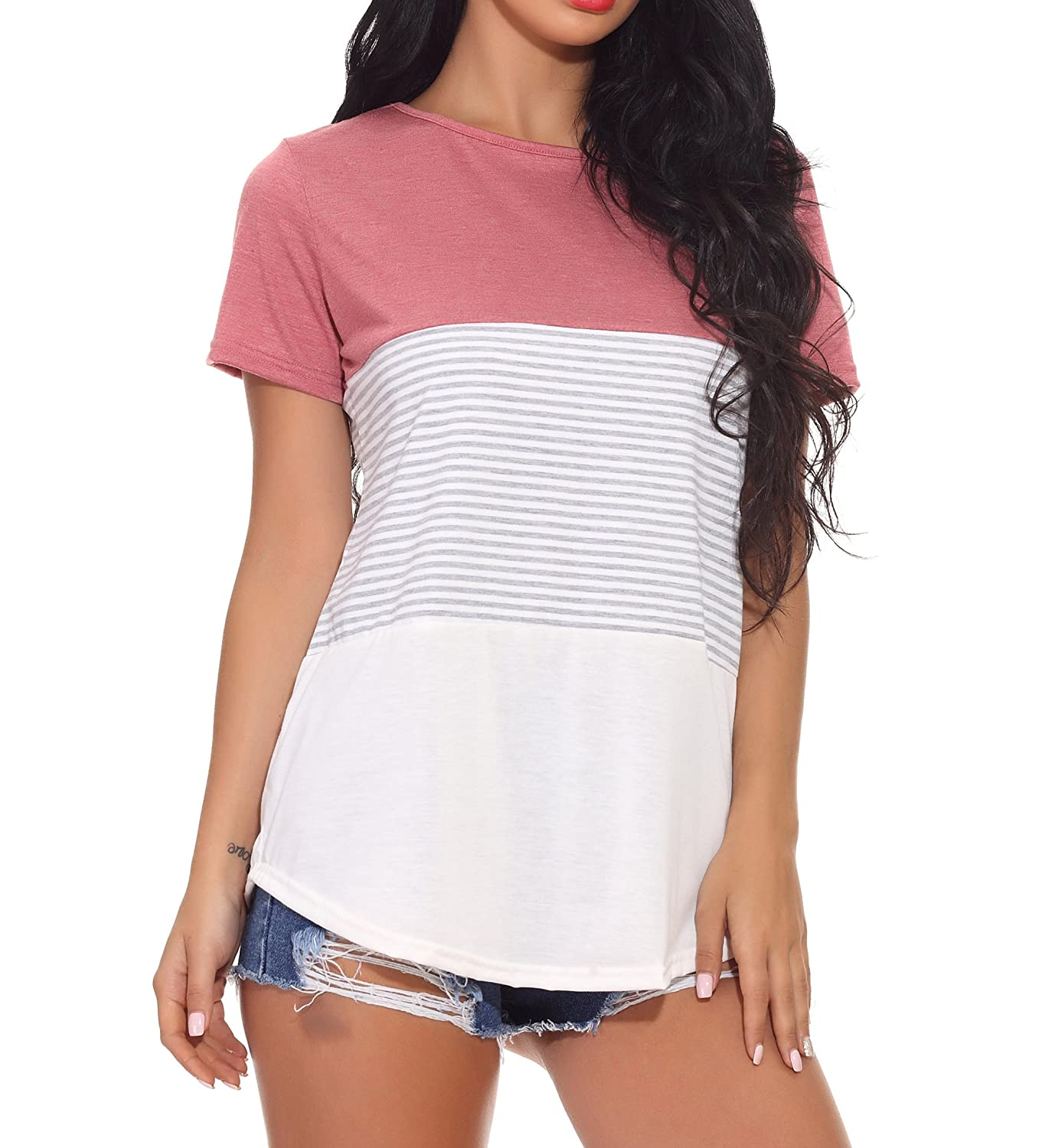 Chvity Women's Short Sleeve T-Shirts Blouse Color Block Tops Striped Tee Casual