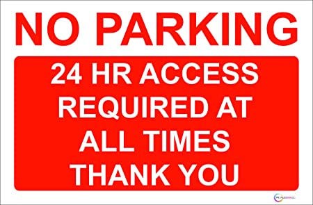 image regarding Printable No Parking Sign identify No parking Indication/Signs and symptoms - Higher Conclusion Strict PVC Or Self Adhesive Sticker - High-quality Exhibit Print (1, Rigorous PVC NO PARKING 24 Hour Arrive at Expected)