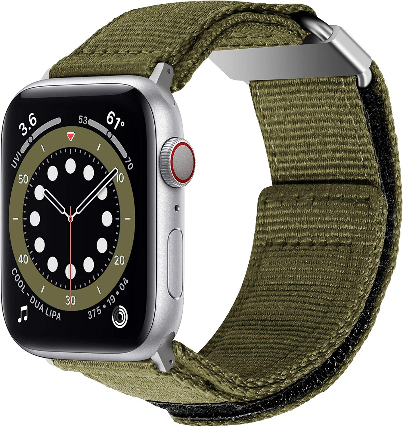baozai Compatible with Apple Watch Band 44mm 42mm, iWatch Serie (Olive Drab, 44mm/42mm)