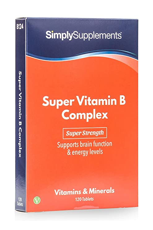 Complejo vitamina B– Con todas las vitaminas del grupo B- Apta para veganos - ¡Bote para 4 meses! - 120 comprimidos –Simply Supplements