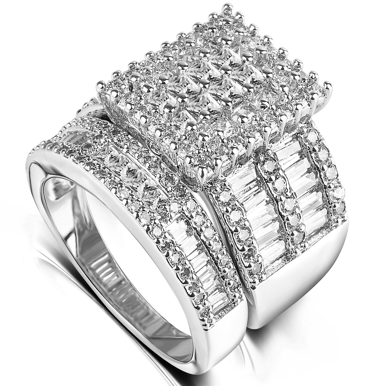 Square CZ 2 Pieces Bridal Sets - Eternity Band Cluster Setting Cubic Zirconia Big Rich Promise Rings for Women (11)