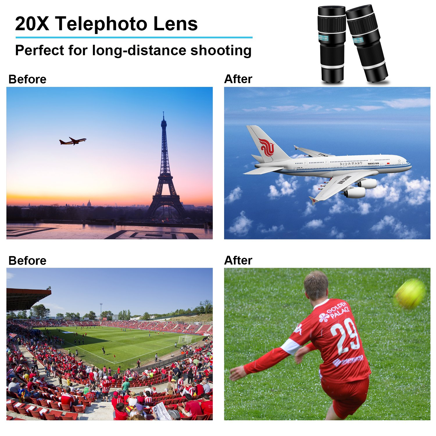 Amazon.com: Cell Phone Telephoto Camera Lens,Kaiess 2018 Newest 20x Telephoto Lens+ Flexible Phone Tripod + Photo Holder + Wireless Remote Shutter for ...