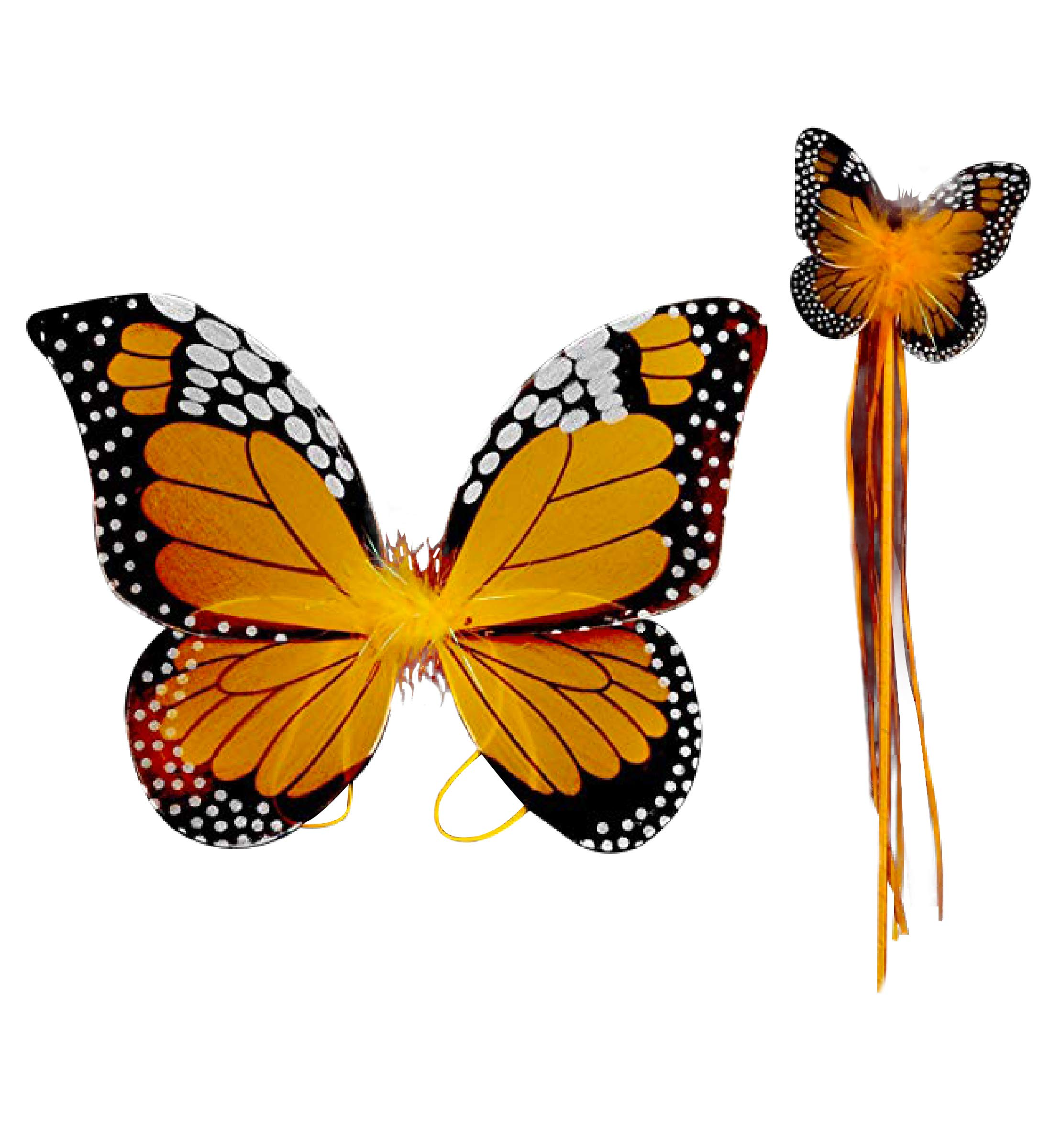 Monarch Butterfly Wing & Wand Set (More Colors...) Select Color: Turquoise (Orange) by Cutie Collection