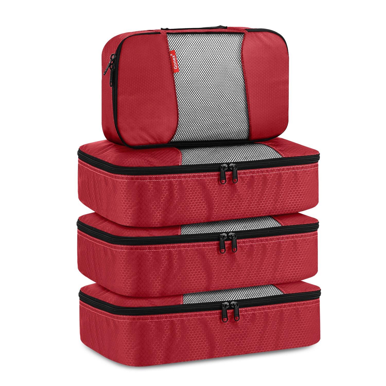 Gonex Packing Cubes Travel Organizer Cubes for Luggage 4 Slim Blue