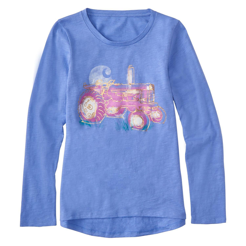 Carhartt Little Girls' Long Sleeve Tee, Light Blue, 6
