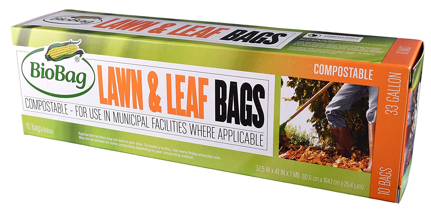 BioBag Certified Compostable 33 Gallon Lawn & Leaf Bags - 10 CT BIOgroupUSA INC.