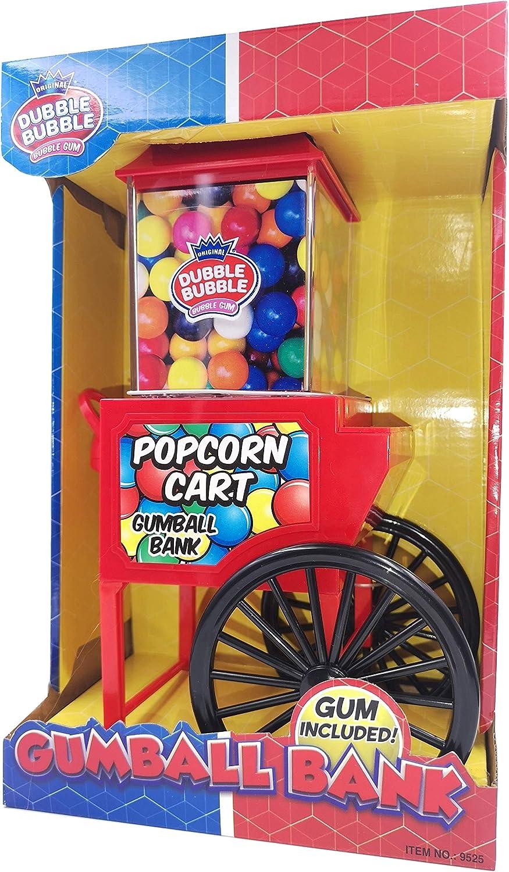 FRUTITOSCOM Dubble Bubble Máquina Hucha Expendedora Carrito Popcorn + 50 gr chicles