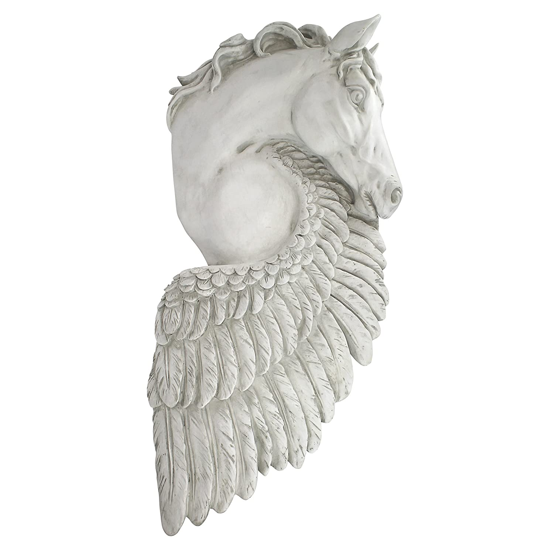 Design Toscano Wandskulptur Flügel der Wut Pegasus Pferd, Harz, Off Weiß, 11.5 x 35.5 x 76 cm