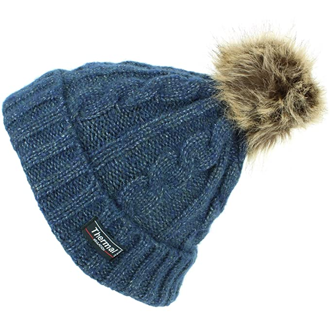 0e886662281 Thinsulate Cable Knit Beanie Hat with Thermal Lining and Faux Fur Bobble -  Blue  Amazon.co.uk  Clothing