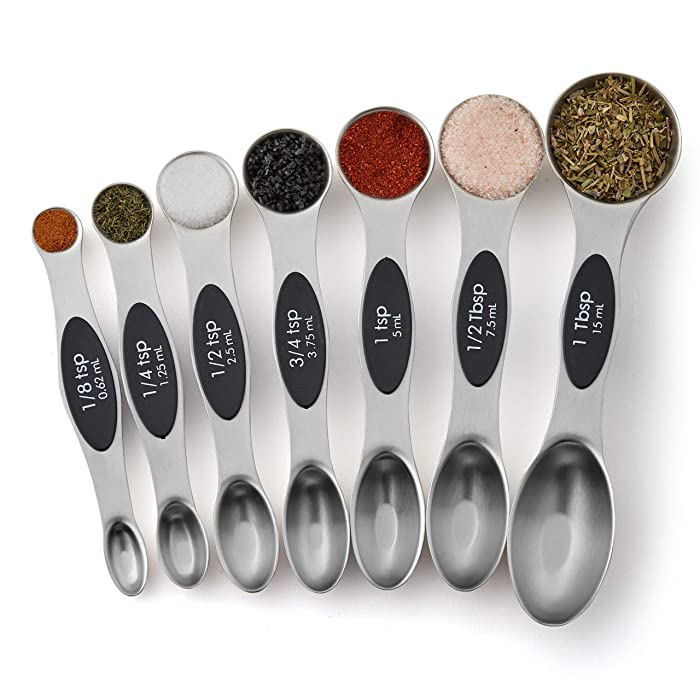 Spring Chef Magnetic Measuring Spoons Set, Dual Sided, Stainless Steel, Fits in Spice Jars, Set of 8