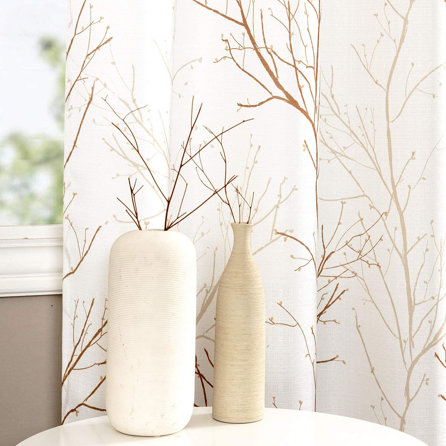 jinchan Natural Window Curtains for Living Room Floral Tree Branch Pattern Panels Grommet Top Causal Weave Curtains for Bedroom 2 Pcs 50