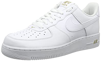 sports shoes 333a2 fa922 ... NIKE Mens Air Force 1 Low 07 Crest Basketball Shoes White Metallic Gold  AA4083- ...