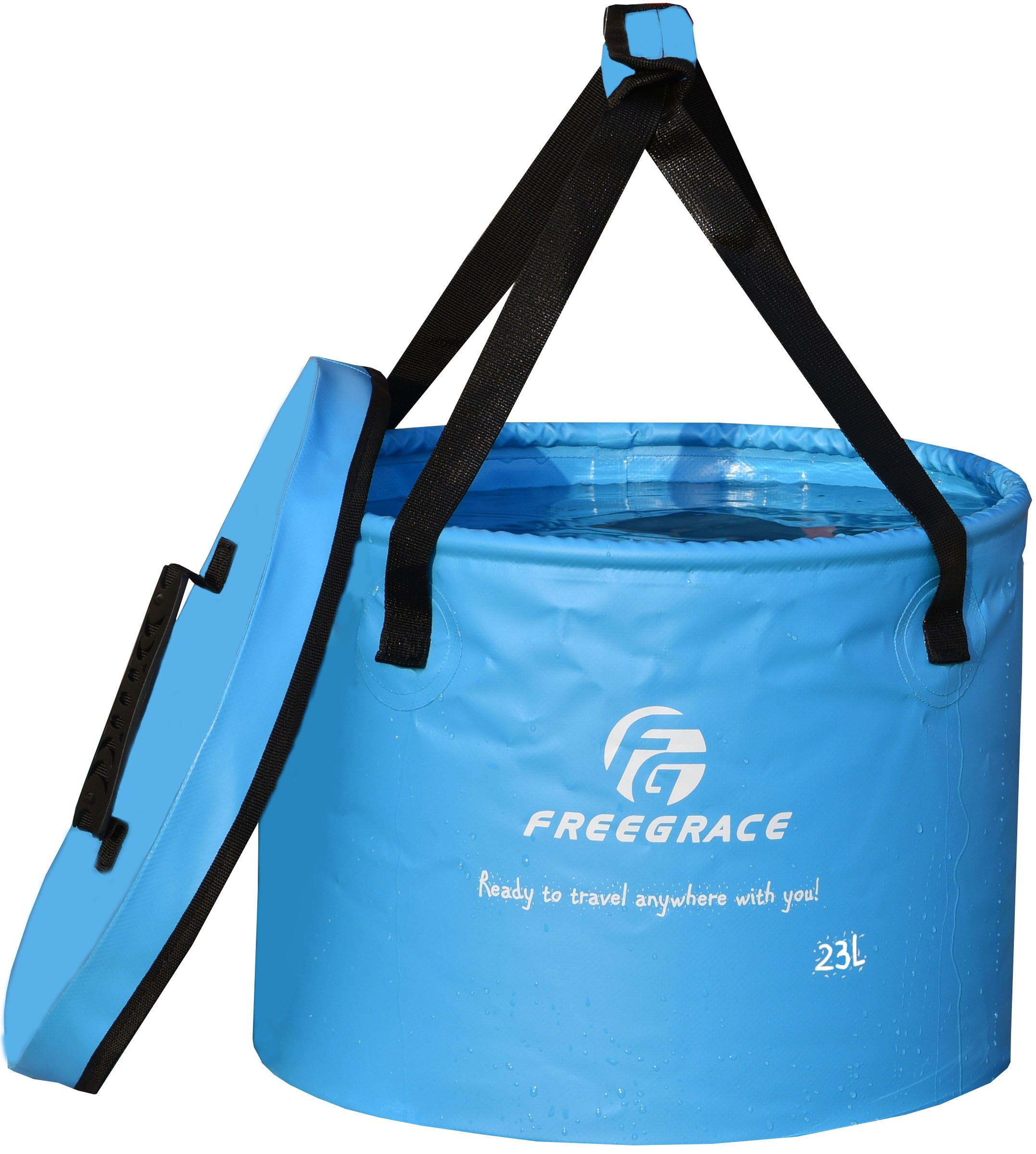 Freegrace Premium Collapsible Bucket -Multifunctional Folding Bucket -Perfect Gear for Camping, Hiking & Travel (Blue, 23L Upgraded) by Freegrace
