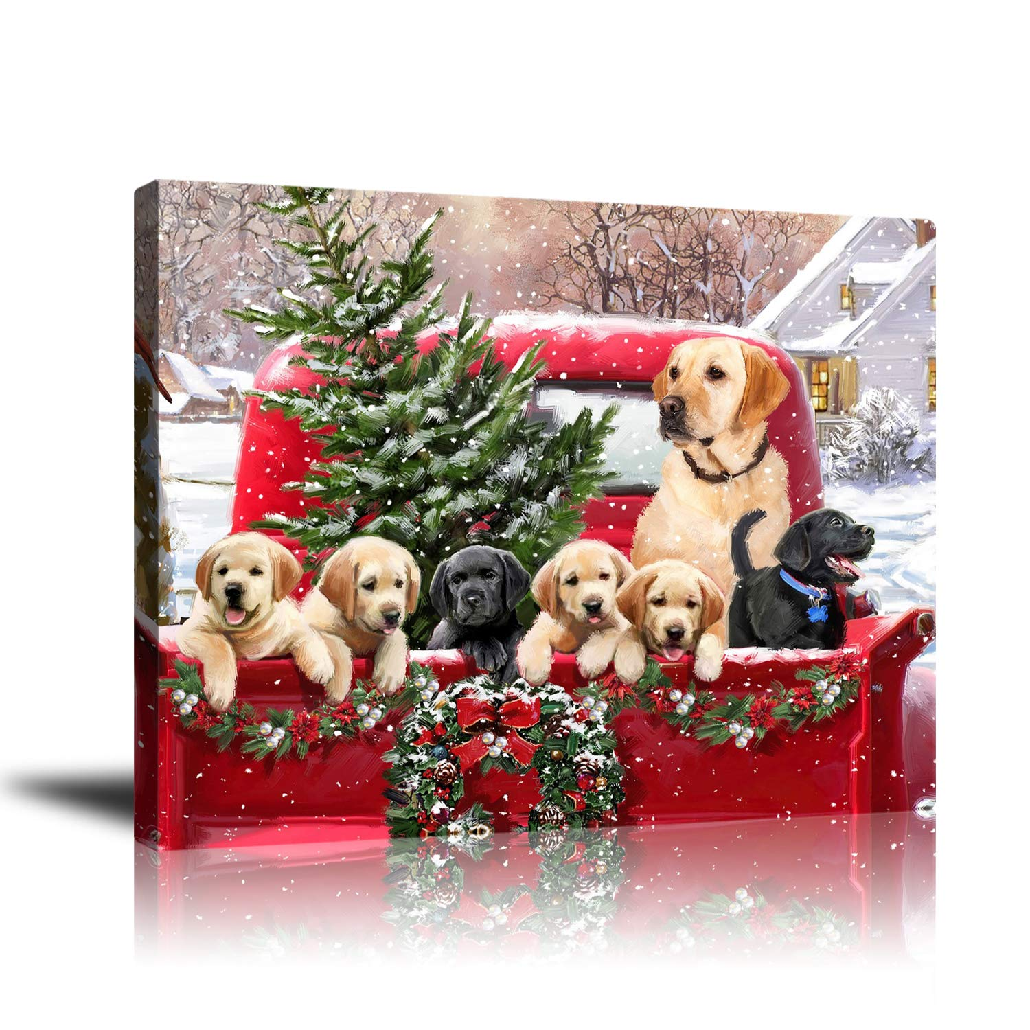 Wall decor Modern Canvas Wall Art, Printed, Dogs on Red Truck Picture Artwork, for Living Room Bedroom Home Office Decor, Ready to Hang 16x20inch