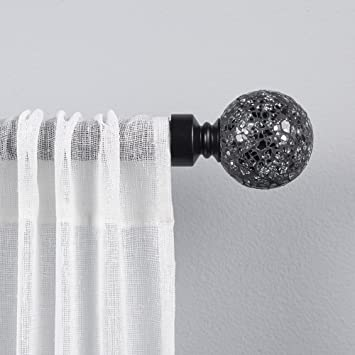 Exclusive Home Curtains White Mosaic Curtain Rod and Finial Set 36 to 72 Gunmetal