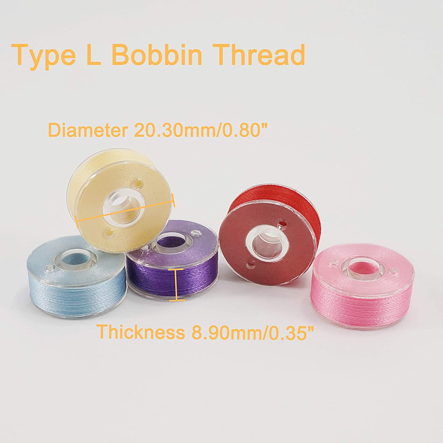 60 Weight New brothread 25pcs Type L Size Assorted Colors Prewound Bobbin Thread Plastic Side for Particular Embroidery and Sewing Machines