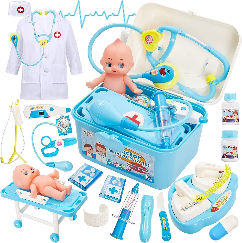 Buyger Maletin Medicos Juguete Disfraz de la Doctora Doctora Enfermera Juguetes Juegos de rol para Niños (Azul)