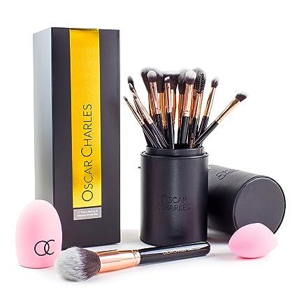 Set de cepillos de maquillaje de Oscar Charles, pinceles de maquillaje presentados en una elegante funda y dentro de una caja de regalo (Rosa)