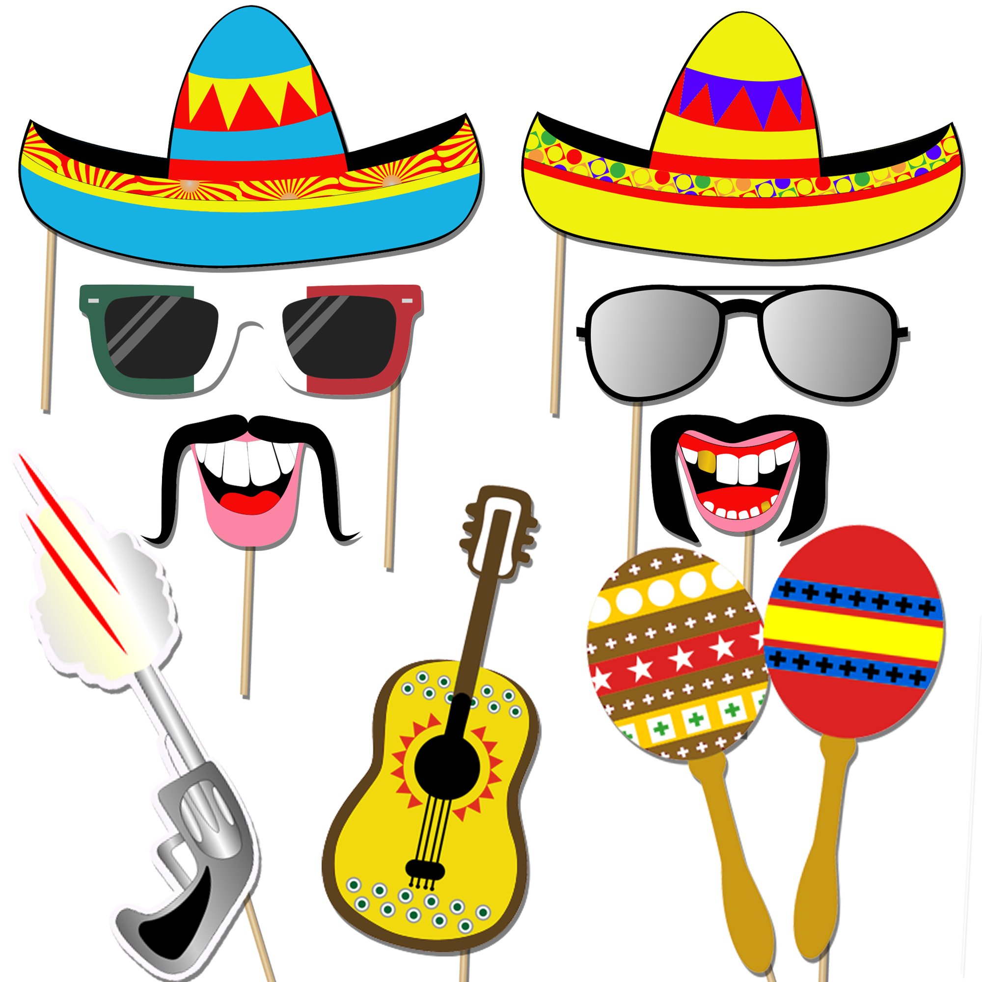 Mexican Fiesta Photo Booth Props, Konsait Funny Photo Booth Selfie ...