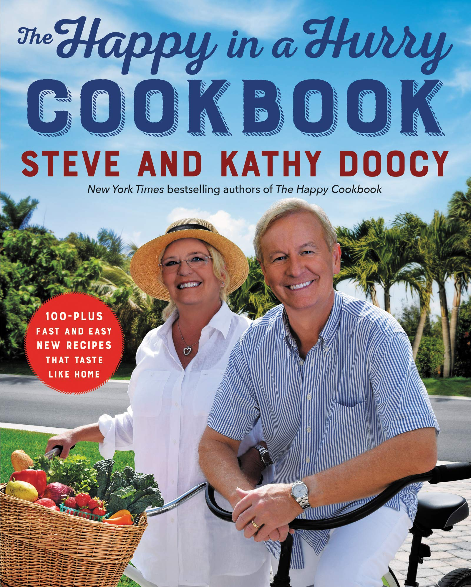Image of The Happy in a Hurry COOKBOOK, in blue front cover.