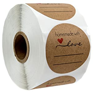 "2"" Homemade with Love Sticker with Lines for Writing /2"" Round Homemade with Love Canning Labels / 500 Labels per roll"