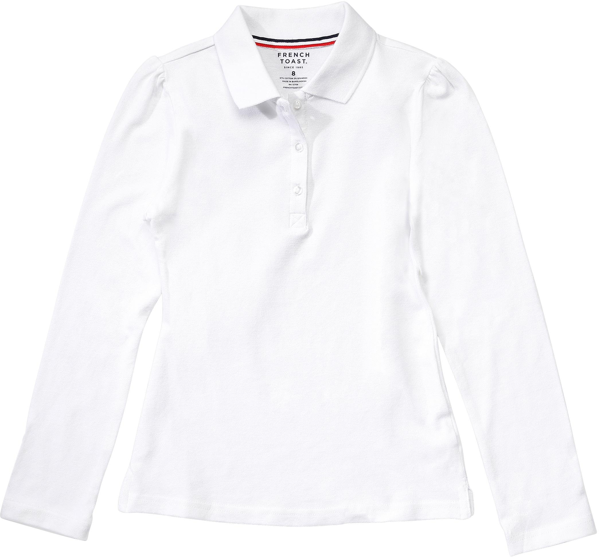French Toast School Uniform Girls Long Sleeve Stretch Pique Polo, White, X-Large Plus (18/20P)