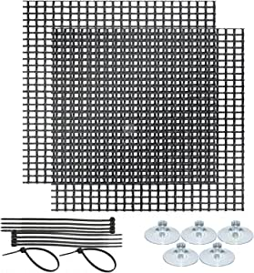 SunGrow Moss Wall Mesh Kit for Aquariums, Creates Breathtaking Backdrop OR Lush Green Carpet for Fish, with 10 pcs Cable Ties and 5 pcs Suction Cups, 2 Pcs Plastic Boards for Low-Tech Plant Tanks