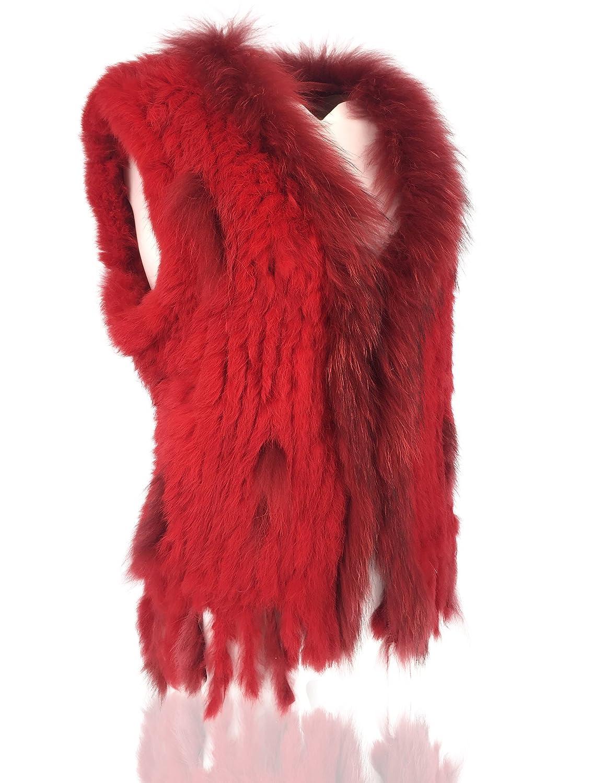 Uilor Womens 100/% Natural Knit Rabbit Fur Vest with Raccoon Fur Collar