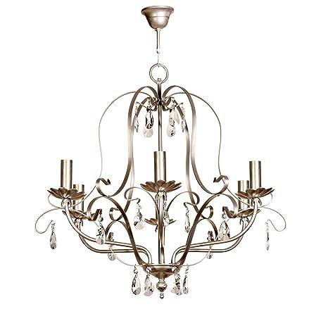 Lámpara de techo de 6 luces acabado plata con velas y ...