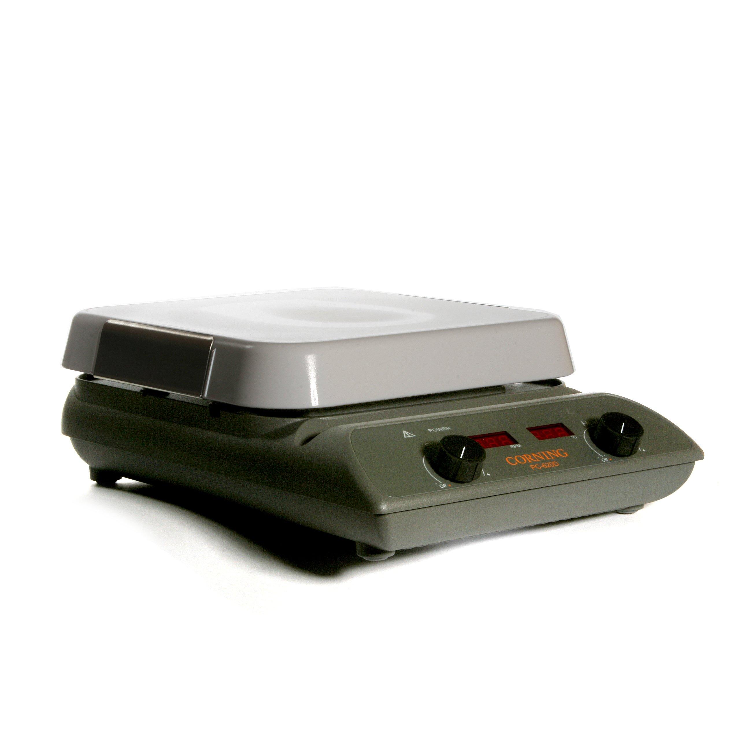Corning 6795-620D PC-620D Digital Stirring Hot Plate with 10'' x 10'' Pyroceram Top, 40.1cm Length x 26.9cm Width x 12.2cm Height, 5 to 550 Degree C, 120V/60Hz