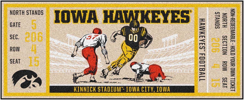 FANMATS NCAA Iowa Hawkeyes University of Iowaticket Runner, Team Color, One Size