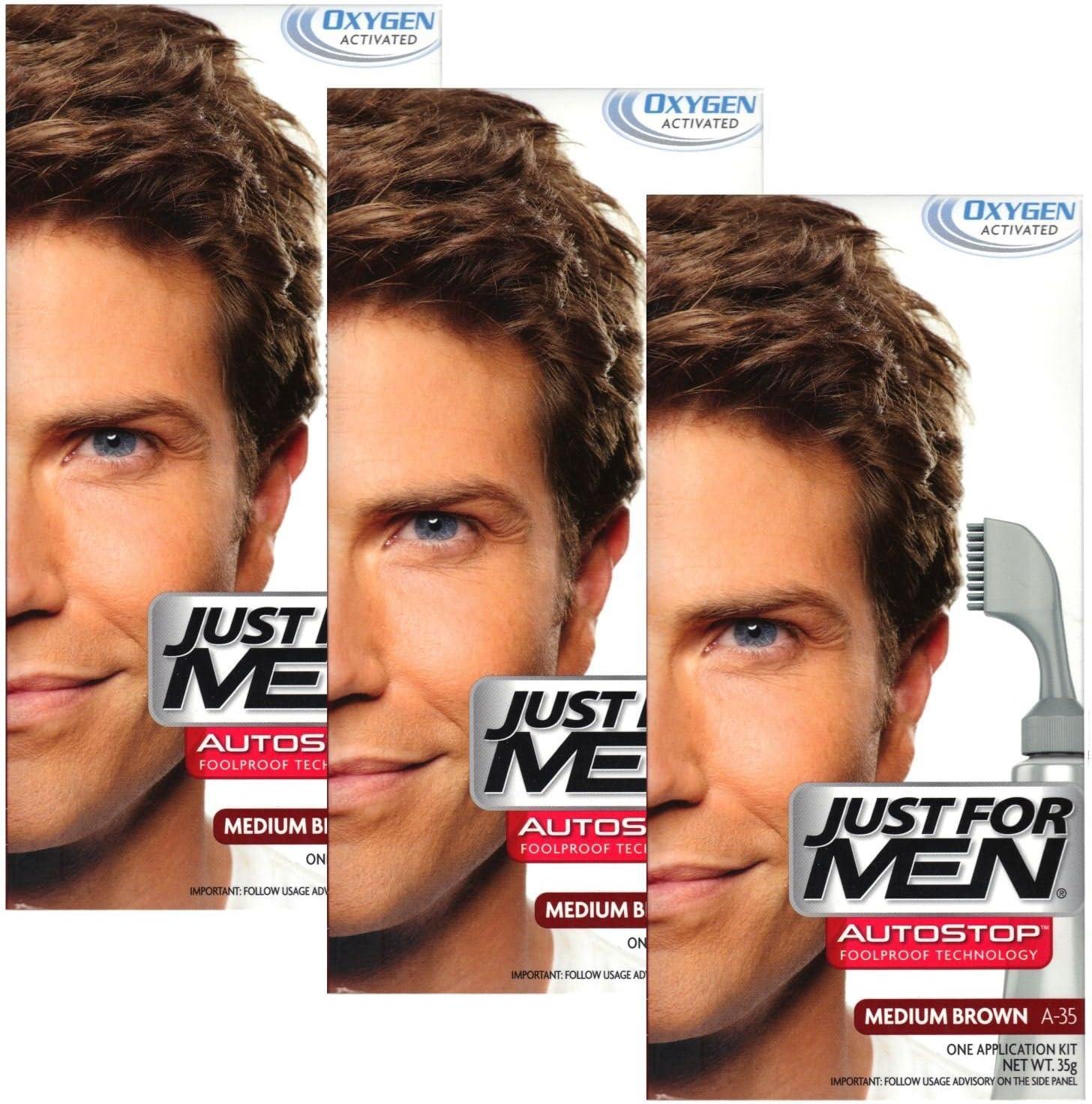 Just For Men Tinte Color Autostop 3 unidades (Castaño Oscuro Mediano - A40)