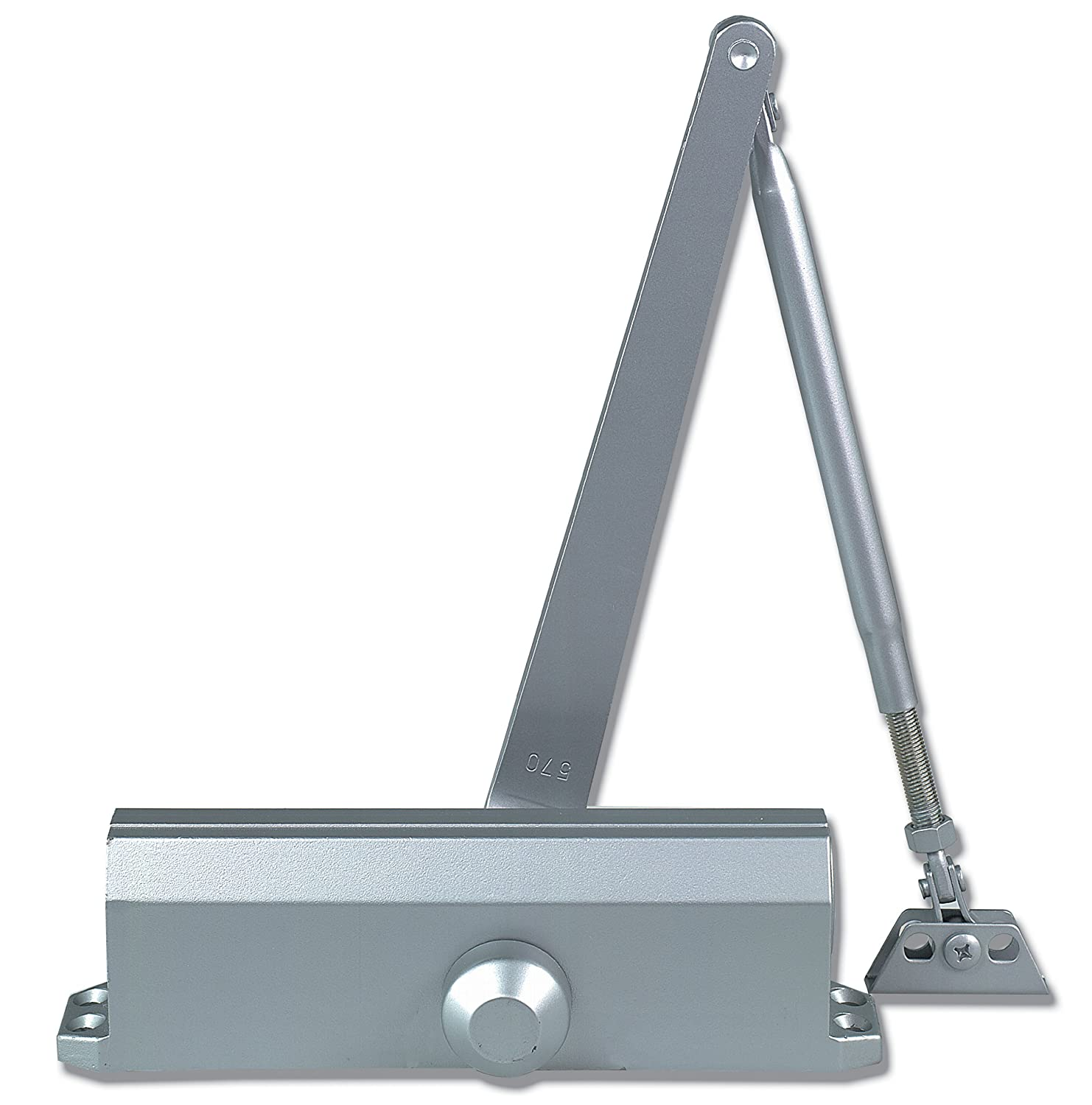 Size 5 TC205-BC-AL Global Door Controls Compact Commercial Door Closer in Aluminum with Adjustable Spring Tension and Backcheck