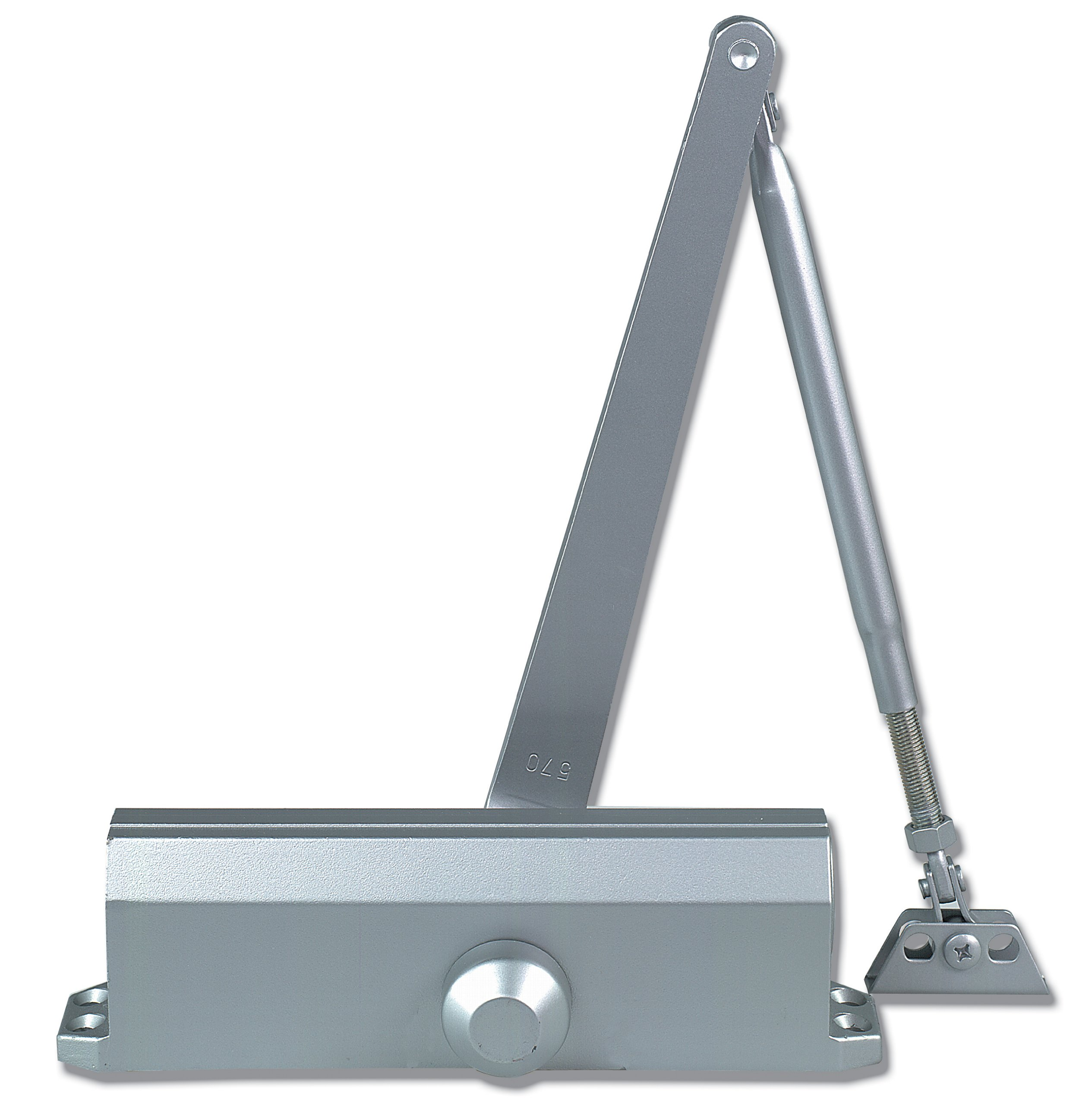 Global Door Controls Compact Commercial Door Closer in Aluminum with Adjustable Spring Tension and Backcheck - Size 5