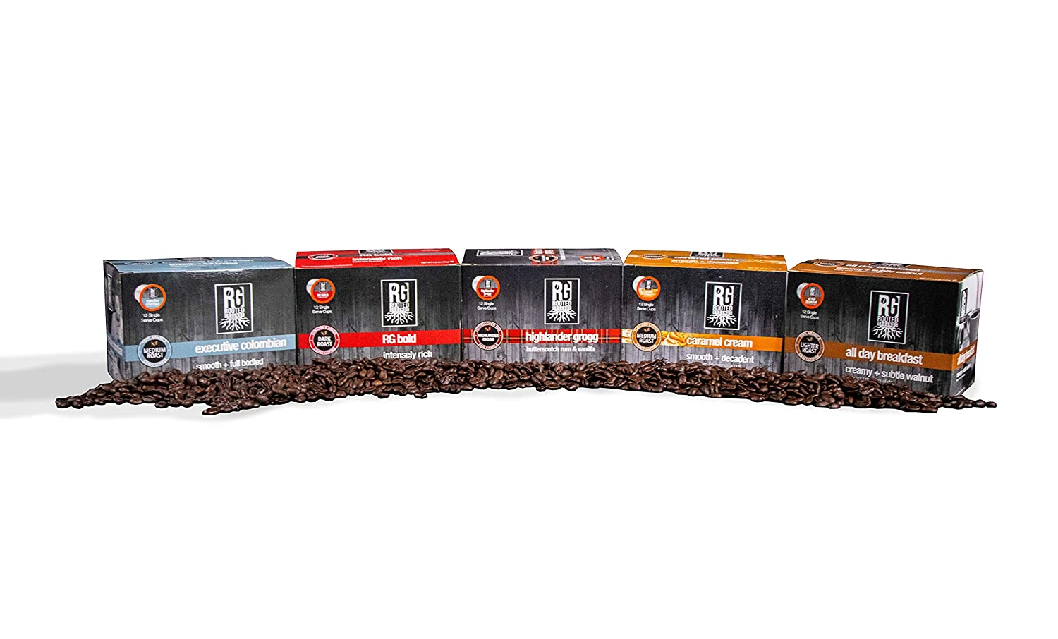 Rooted Grounds Small Batch Coffee K-Cups 12 Single Serve Cups Compatible with Kuerig 2.0 (Highlander Grogg)