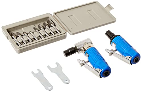 Astro Pneumatic Tool 1221 Composite Body 1 4 90 Die Grinder, Mini Die Grinder AND 8pc. Double Cut Carbide Rotary Burr Set